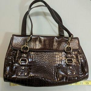 Lauren Ralph Lauren Brown Faux Alligator Bag